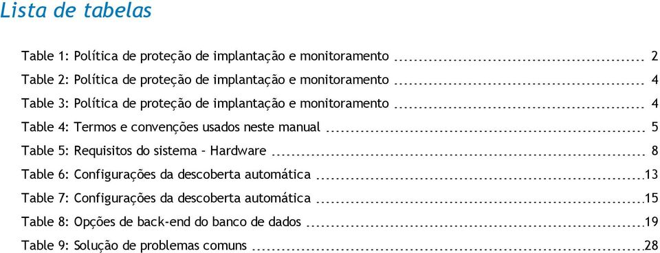 usados neste manual 5 Table 5: Requisitos do sistema Hardware 8 Table 6: Configurações da descoberta automática 13 Table