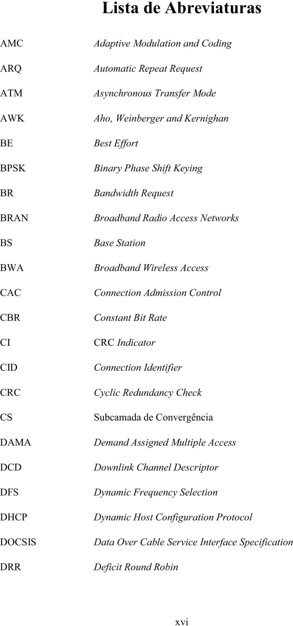 Wireless Access Connection Admission Control Constant Bit Rate CRC Indicator Connection Identifier Cyclic Redundancy Check Subcamada de Convergência Demand Assigned
