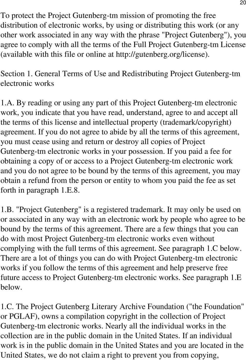General Terms of Use and Redistributing Project Gutenberg-tm electronic works 1.A.