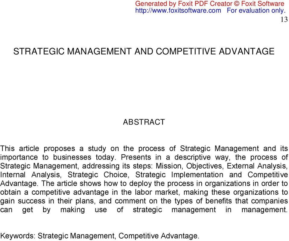 Implementation and Competitive Advantage.