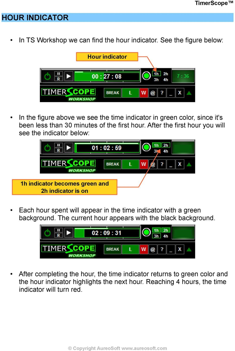 After the first hour you will see the indicator below: 1h indicator becomes green and 2h indicator is on Each hour spent will appear in the time indicator