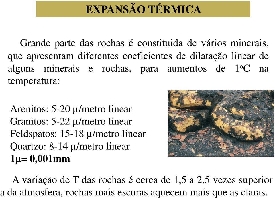 linear Granitos: 5-22 µ/metro linear Feldspatos: 15-18 µ/metro linear Quartzo: 8-14 µ/metro linear 1µ= 0,001mm A