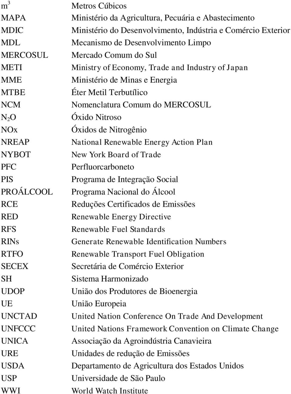 Japan Ministério de Minas e Energia Éter Metil Terbutílico Nomenclatura Comum do MERCOSUL Óxido Nitroso Óxidos de Nitrogênio National Renewable Energy Action Plan New York Board of Trade