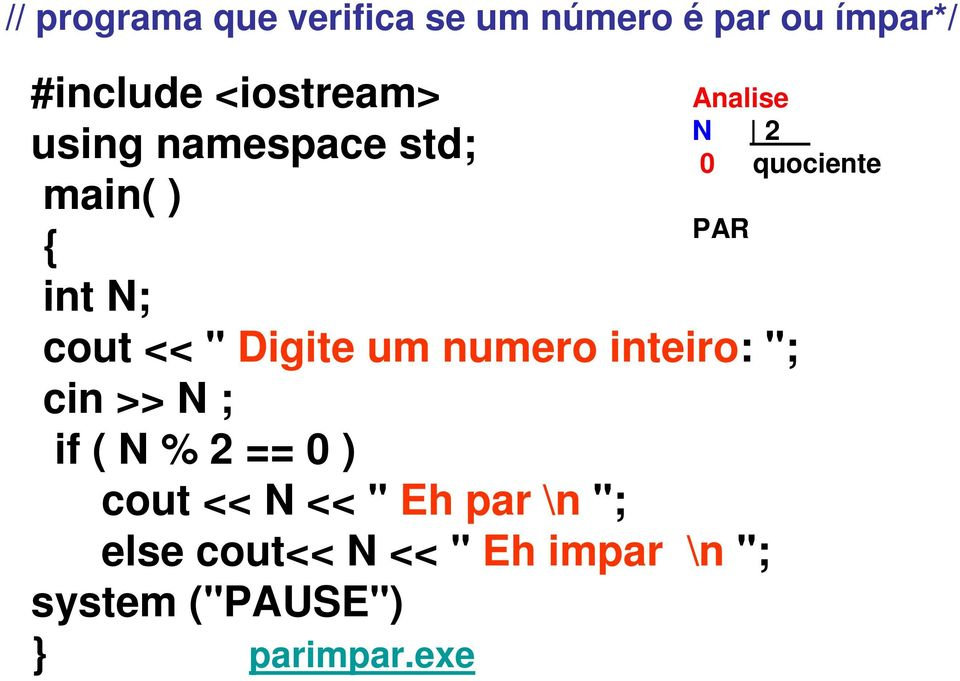 "numero inteiro: ""; cin >> N ; if ( N % 2 == 0 ) cout << N << "" Eh par \n"