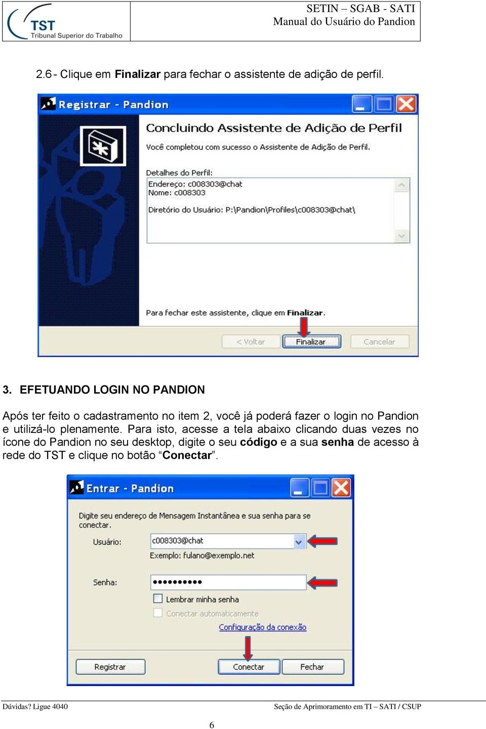 login no Pandion e utilizá-lo plenamente.