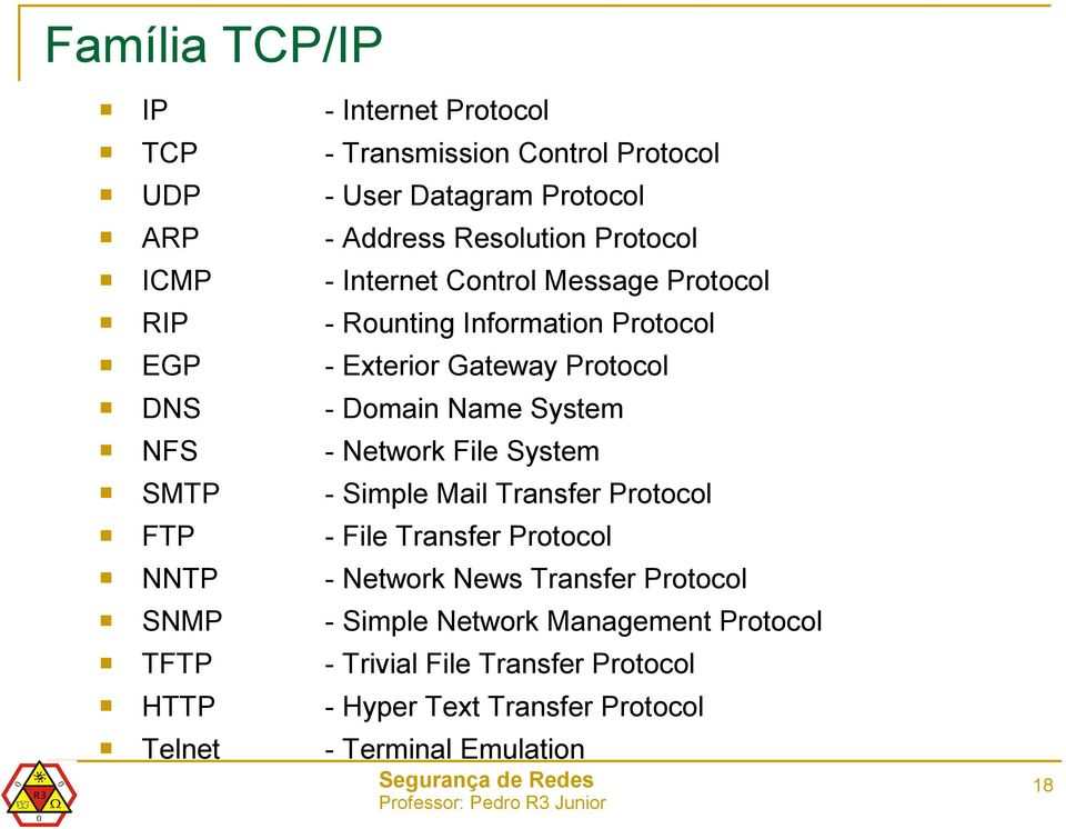 NFS - Network File System SMTP - Simple Mail Transfer Protocol FTP - File Transfer Protocol NNTP - Network News Transfer Protocol SNMP -