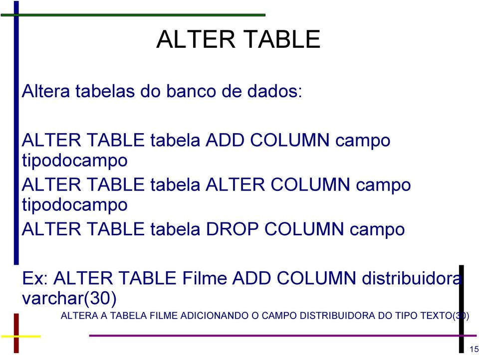 TABLE tabela DROP COLUMN campo Ex: ALTER TABLE Filme ADD COLUMN distribuidora