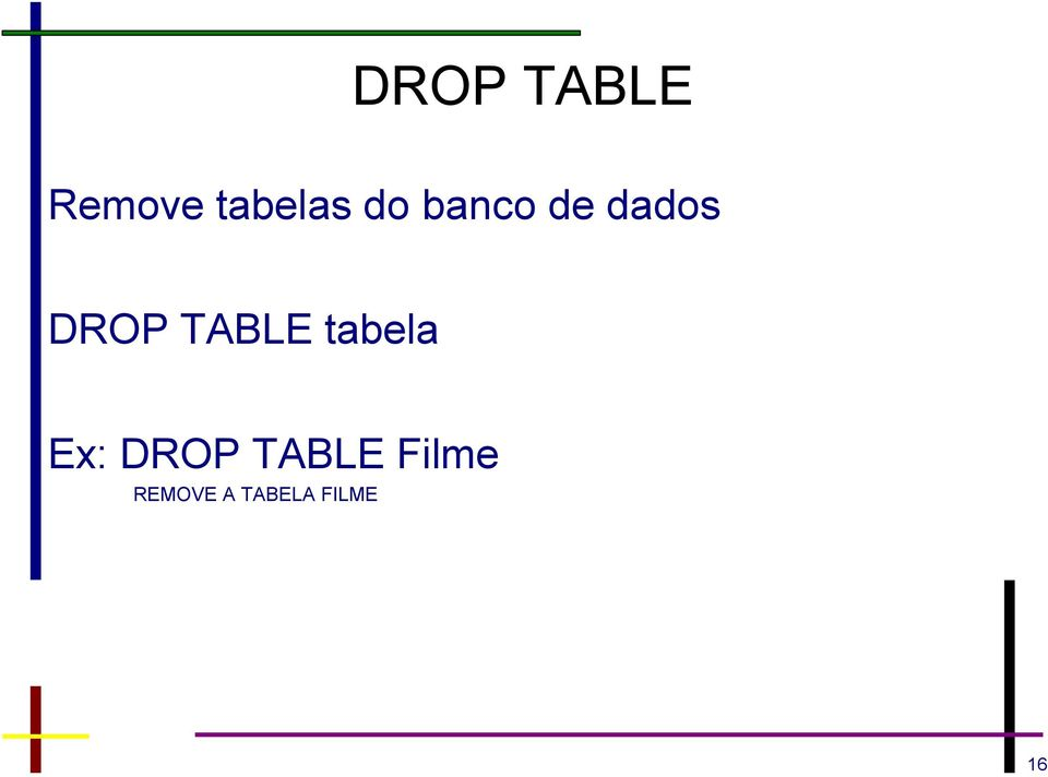 TABLE tabela Ex: DROP