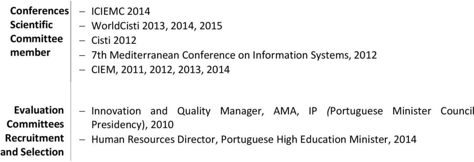 Committees Recruitment and Selection Innovation and Quality Manager, AMA, IP (Portuguese