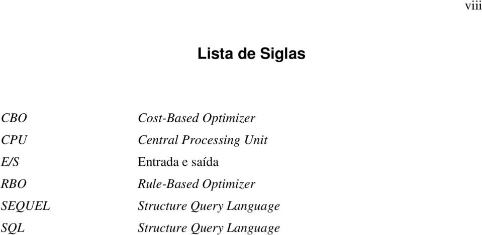 Unit Entrada e saída Rule-Based Optimizer
