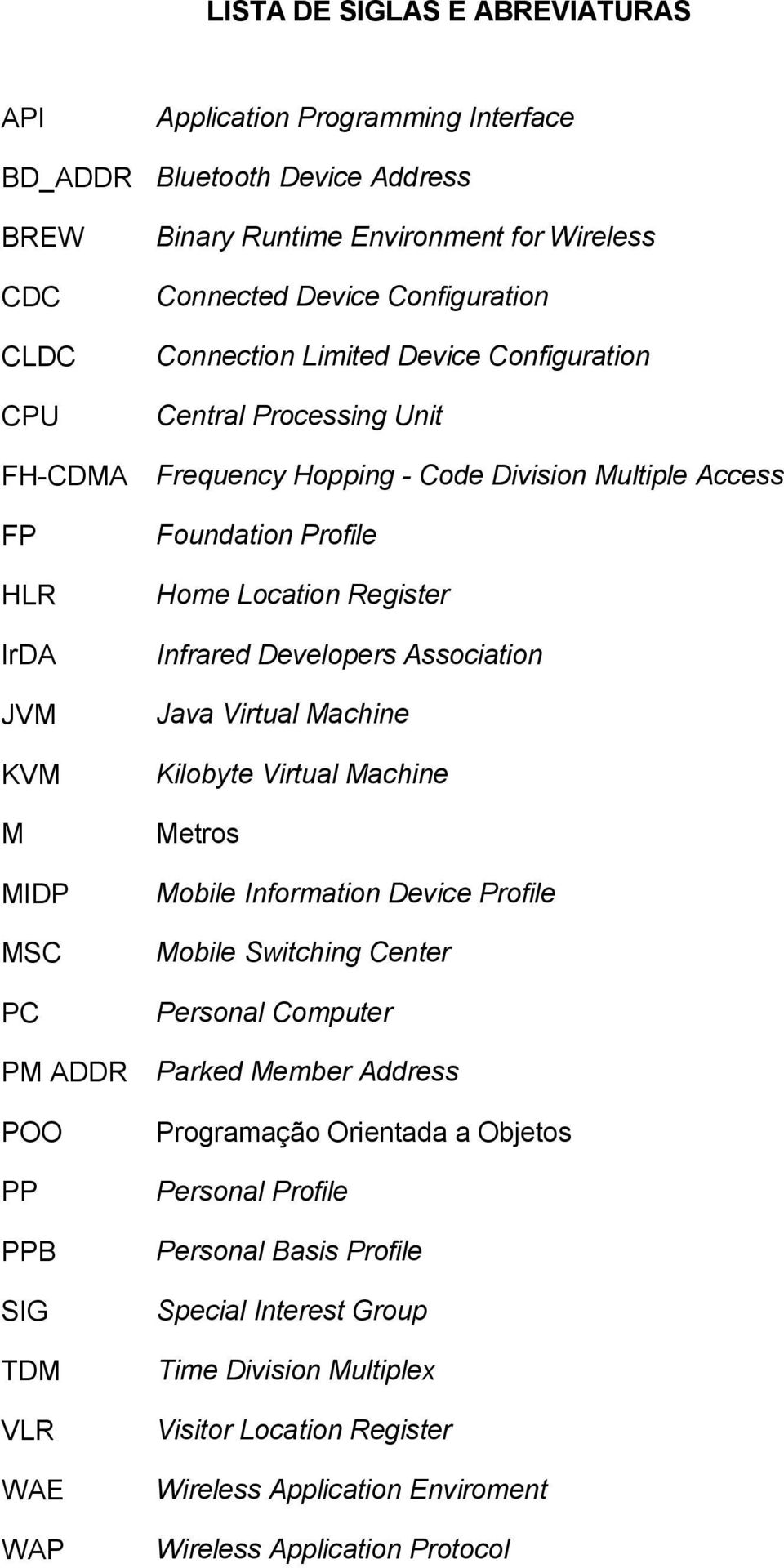 Infrared Developers Association Java Virtual Machine Kilobyte Virtual Machine Metros Mobile Information Device Profile Mobile Switching Center Personal Computer PM ADDR Parked Member Address POO PP