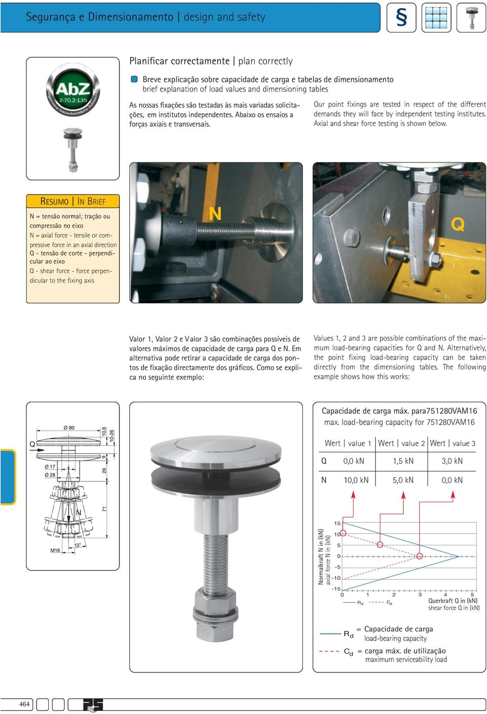 Our point fixings are tested in respect of the different demands they will face by independent testing institutes. Axial and shear force testing is shown below.