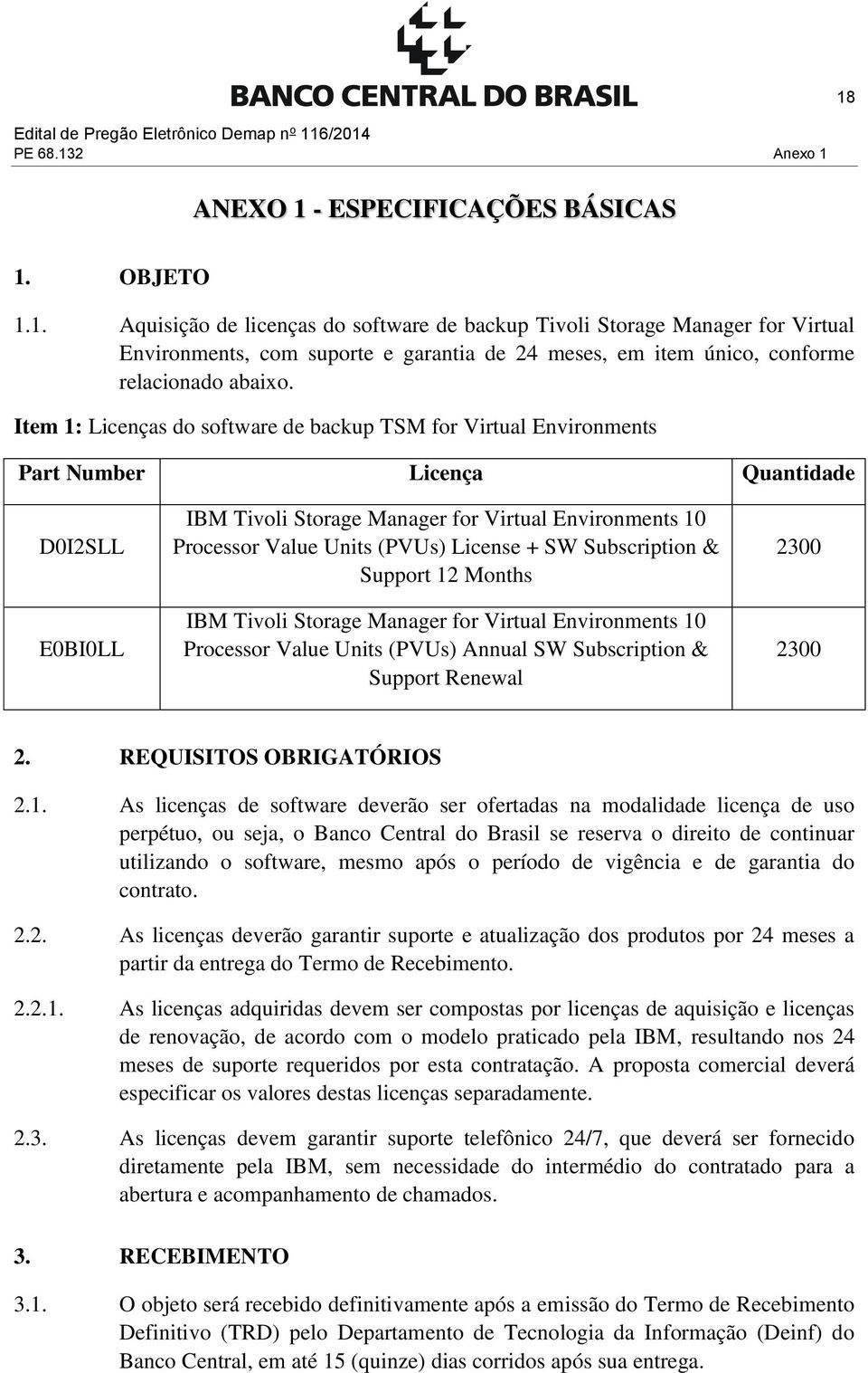 License + SW Subscription & Support 12 Months IBM Tivoli Storage Manager for Virtual Environments 10 Processor Value Units (PVUs) Annual SW Subscription & Support Renewal 2300 2300 2.