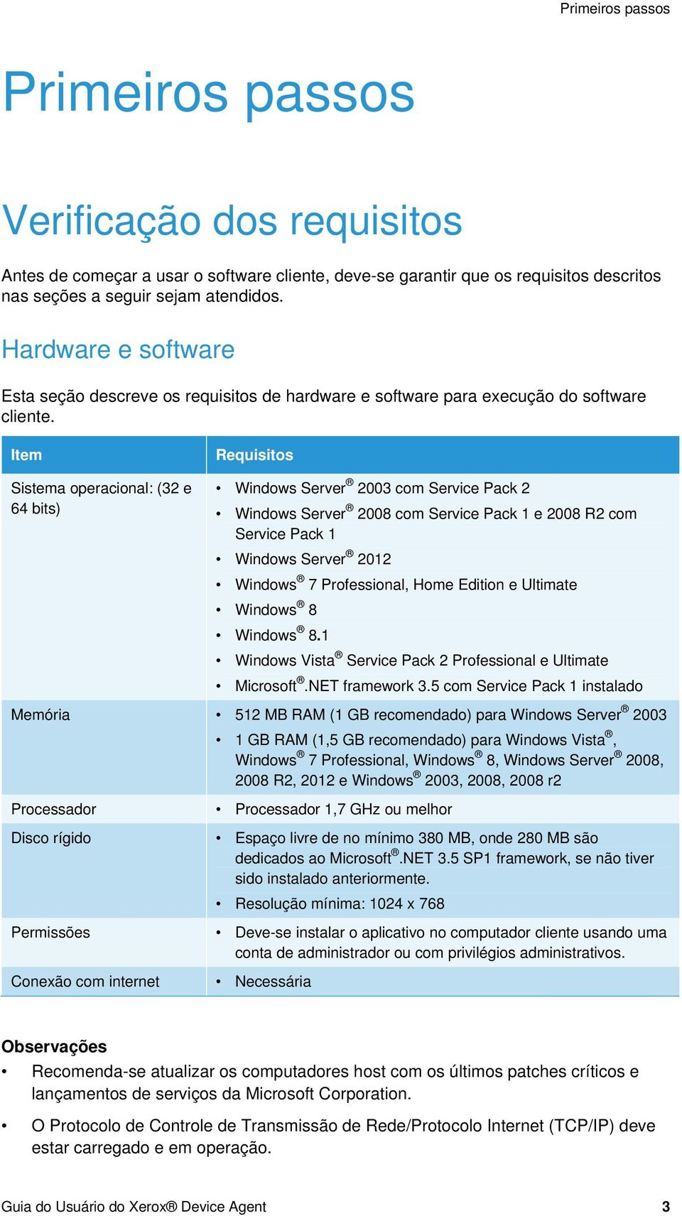 Item Sistema operacional: (32 e 64 bits) Requisitos Windows Server 2003 com Service Pack 2 Windows Server 2008 com Service Pack 1 e 2008 R2 com Service Pack 1 Windows Server 2012 Windows 7