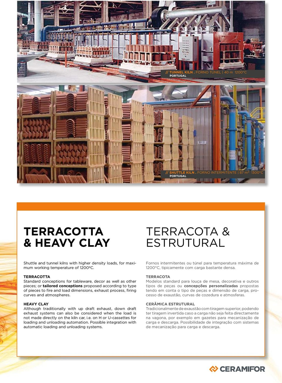 TERRACOTTA Standard conceptions for tableware, decor as well as other pieces; or tailored conceptions proposed according to type of pieces to fire and load dimensions, exhaust process, firing curves