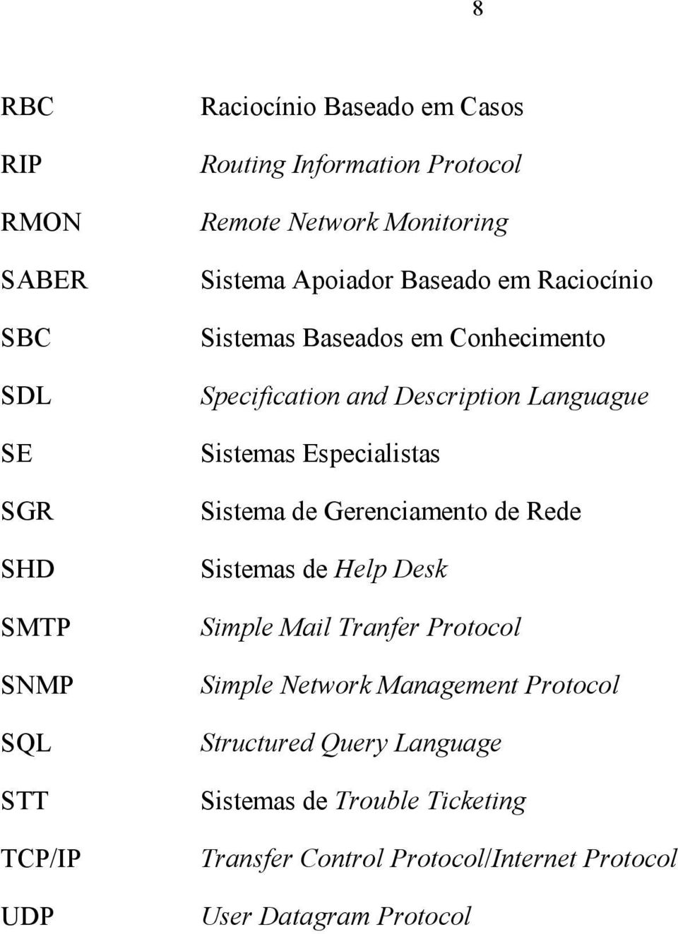 Sistemas Especialistas Sistema de Gerenciamento de Rede Sistemas de Help Desk Simple Mail Tranfer Protocol Simple Network Management