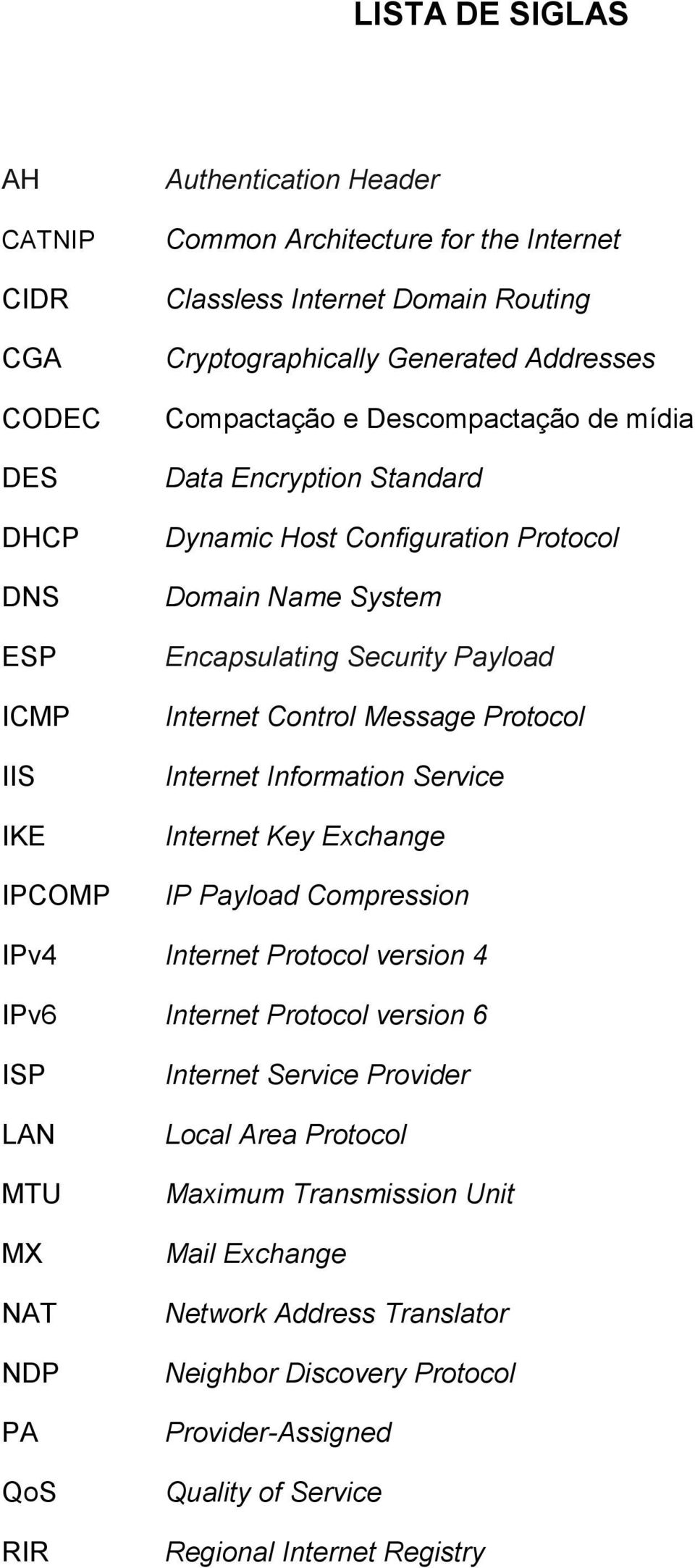 Message Protocol Internet Information Service Internet Key Exchange IP Payload Compression IPv4 Internet Protocol version 4 IPv6 Internet Protocol version 6 ISP LAN MTU MX NAT NDP PA QoS RIR