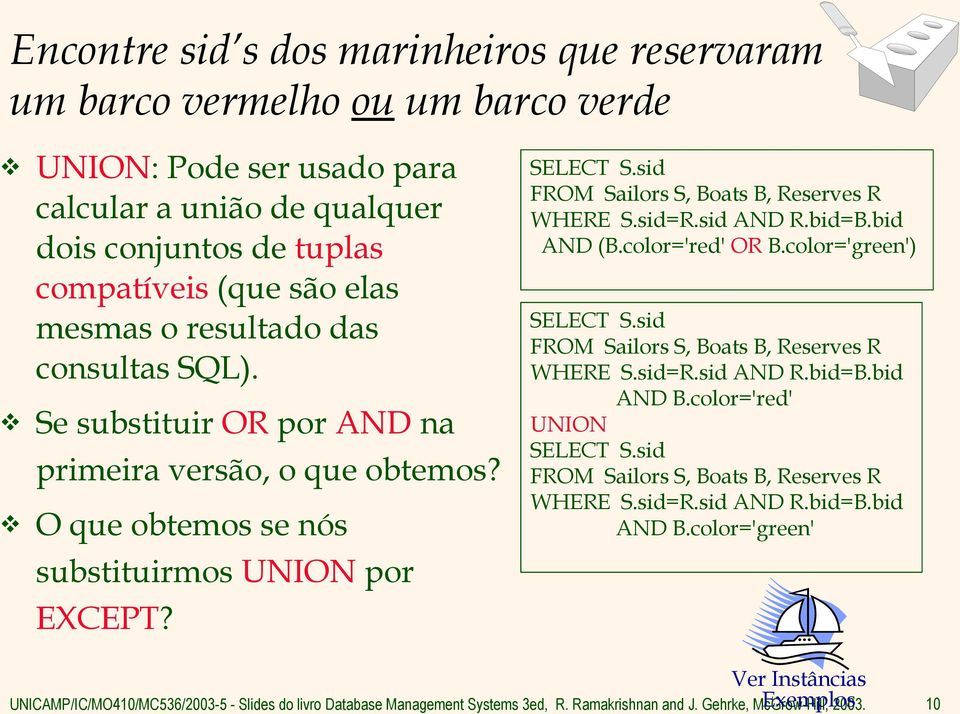 O que obtemos se nós substituirmos UNION por EXCEPT? SELECT S.sid, Boats B, Reserves R WHERE S.sid=R.sid AND R.bid=B.bid AND (B.color='red' OR B.