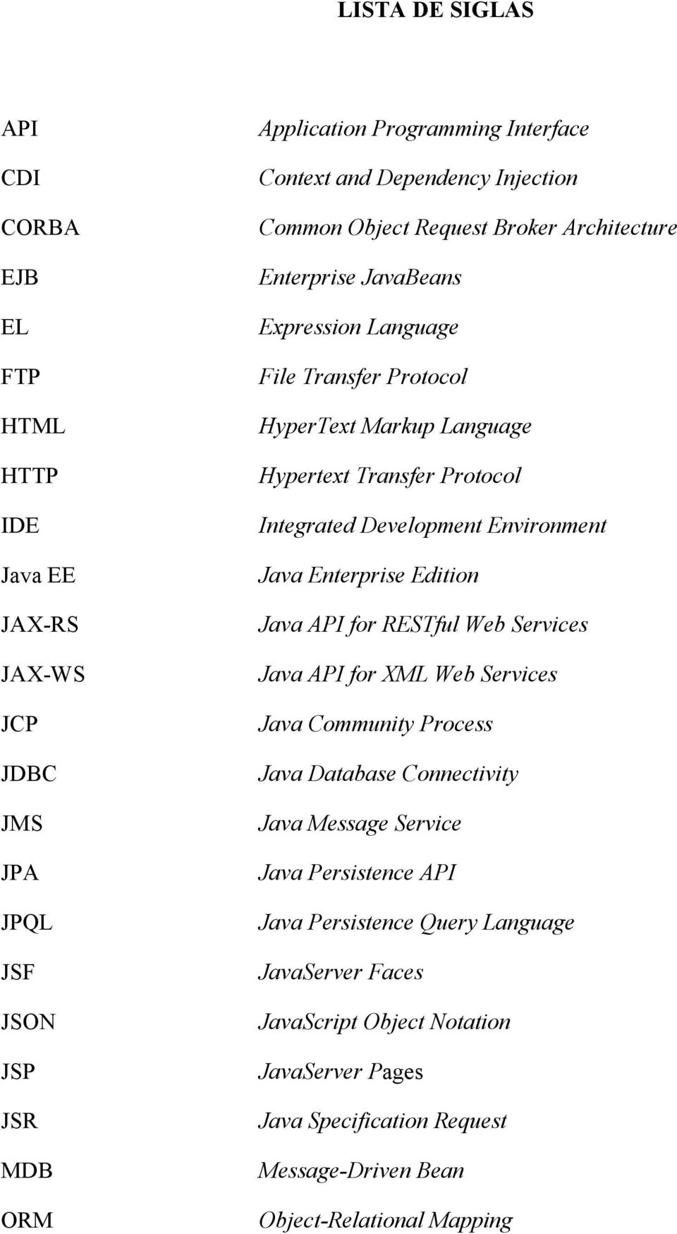 Development Environment Java Enterprise Edition Java API for RESTful Web Services Java API for XML Web Services Java Community Process Java Database Connectivity Java Message Service