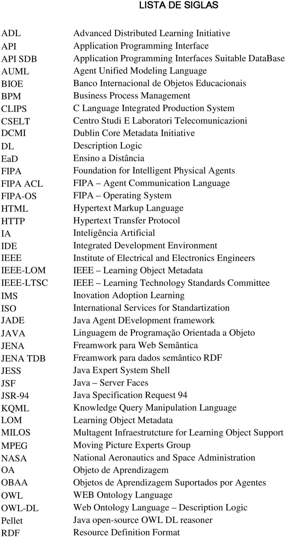 Metadata Initiative DL Description Logic EaD Ensino a Distância FIPA Foundation for Intelligent Physical Agents FIPA ACL FIPA Agent Communication Language FIPA-OS FIPA Operating System HTML Hypertext