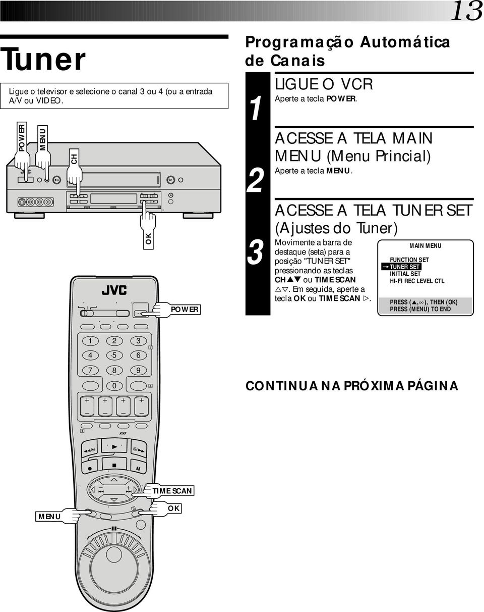 MAIN FUNCTION SET =TUNER SET INITIAL SET HI-FI REC LEVEL CTL PRESS (5, ), THEN () PRESS () TO END ACESSE A TELA TUNER SET (Ajustes