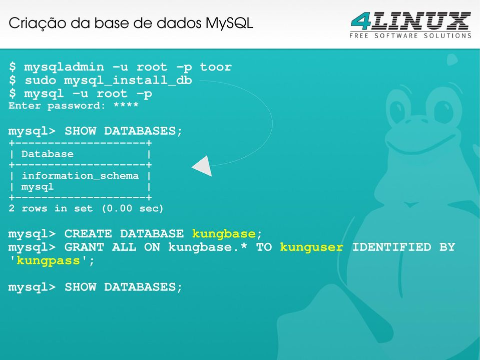 +--------------------+ information_schema mysql +--------------------+ 2 rows in set (0.