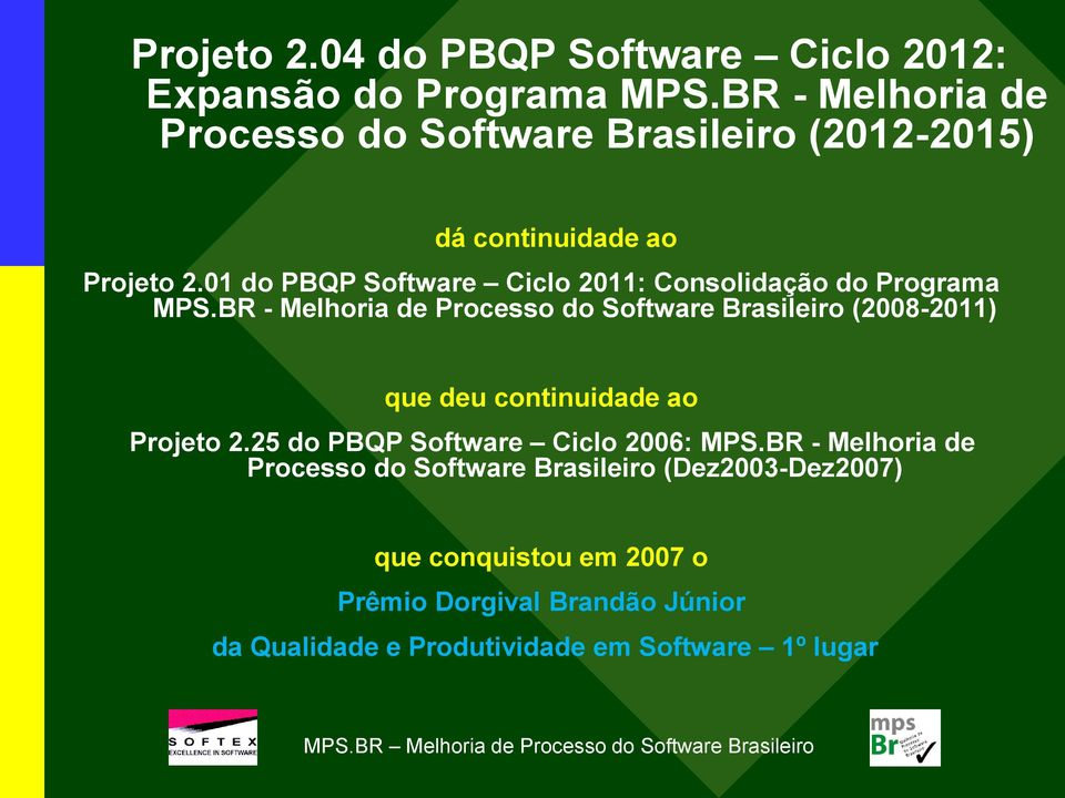 01 do PBQP Software Ciclo 2011: Consolidação do Programa MPS.