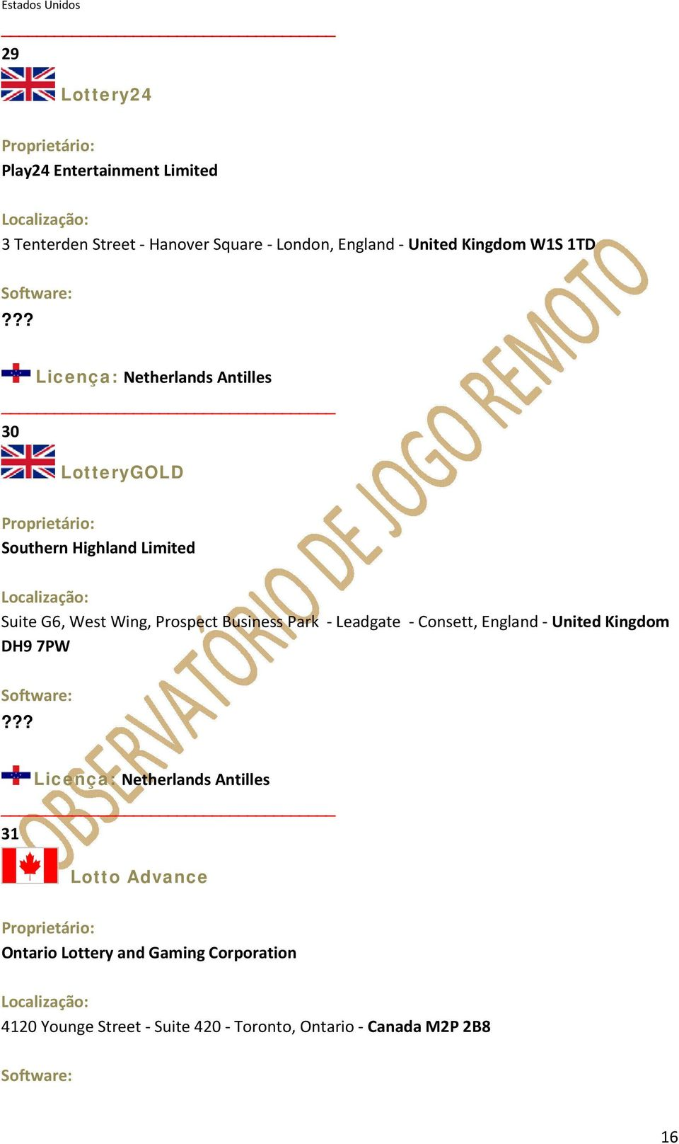 ?? Licença: Netherlands Antilles 30 LotteryGOLD Southern Highland Limited Suite G6, West Wing, Prospect Business Park