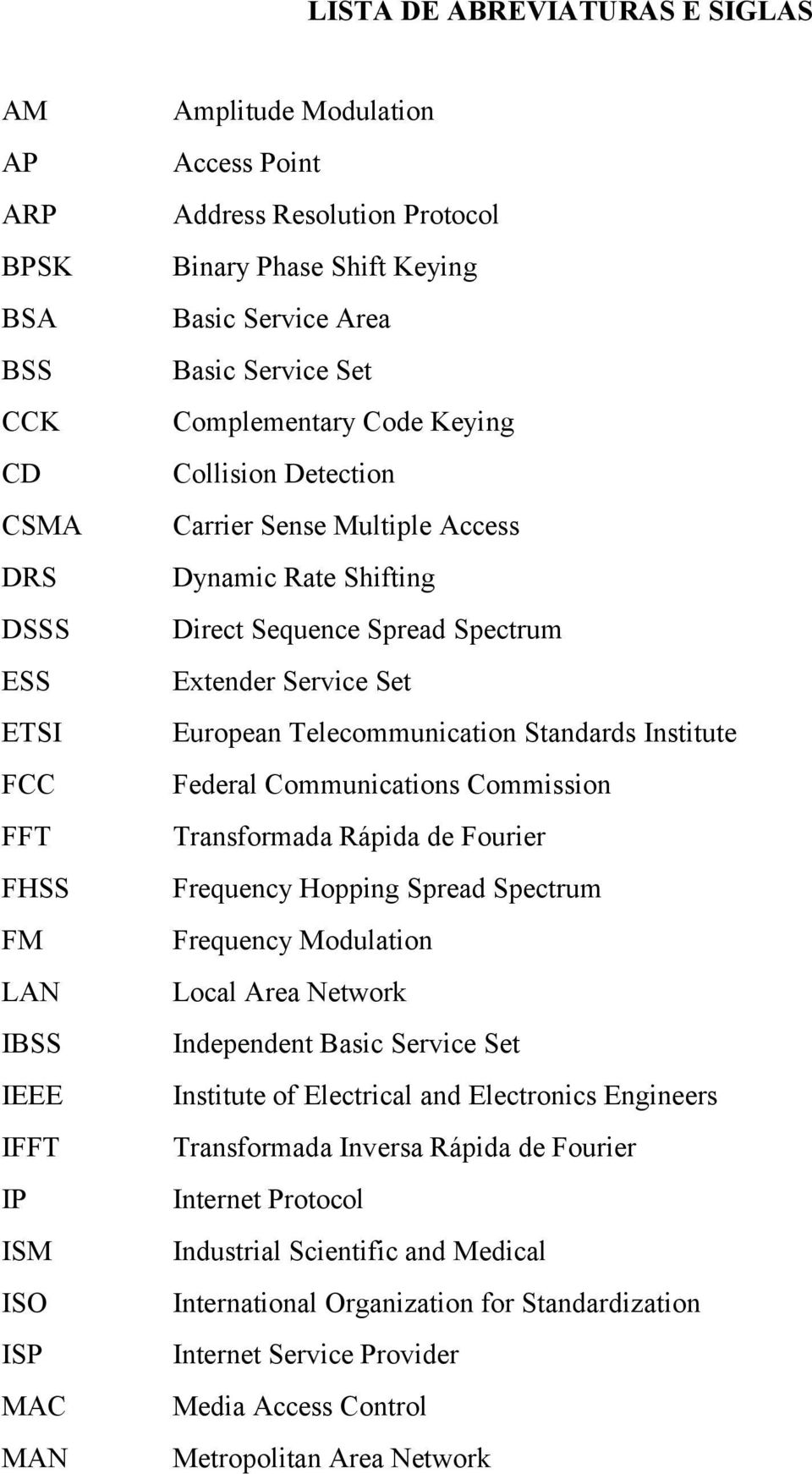 Spectrum Extender Service Set European Telecommunication Standards Institute Federal Communications Commission Transformada Rápida de Fourier Frequency Hopping Spread Spectrum Frequency Modulation