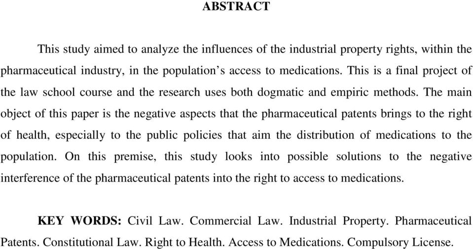 The main object of this paper is the negative aspects that the pharmaceutical patents brings to the right of health, especially to the public policies that aim the distribution of medications to the