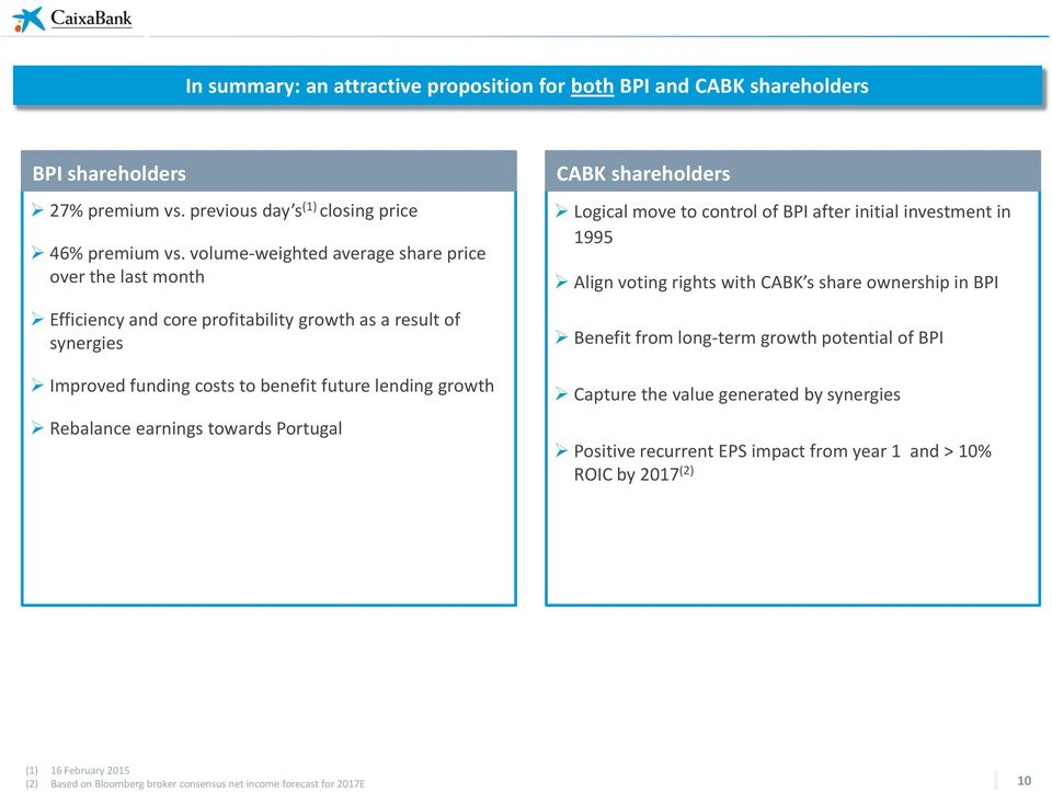 earnings towards Portugal CABK shareholders Logical move to control of BPI after initial investment in 1995 Align voting rights with CABK s share ownership in BPI Benefit from long-term