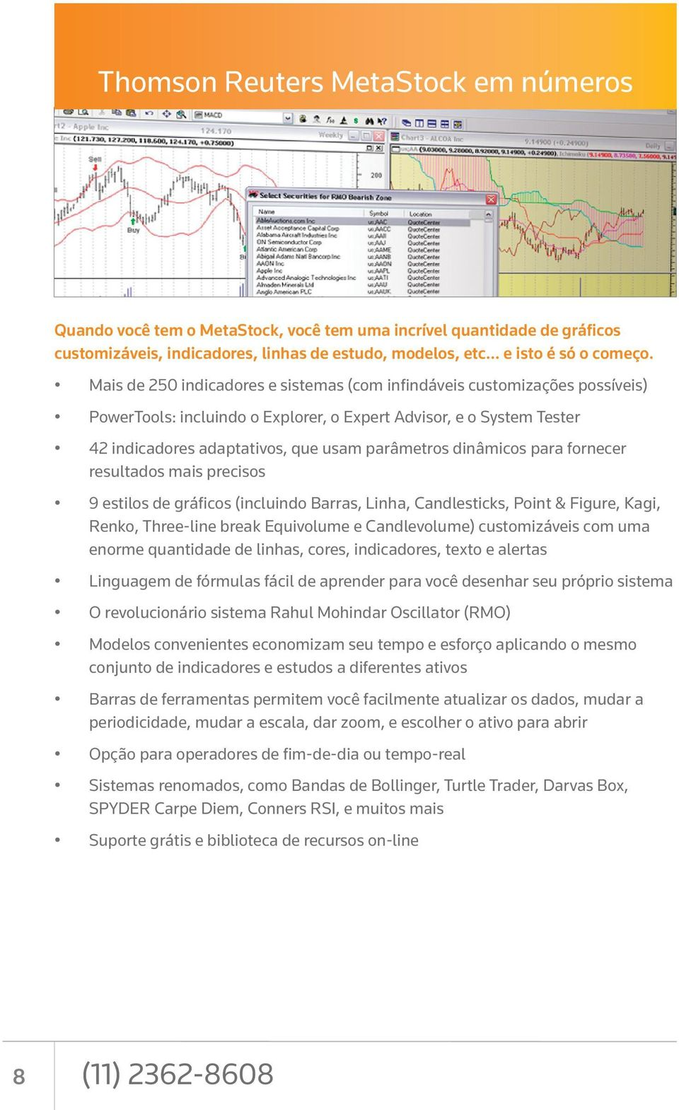 dinâmicos para fornecer resultados mais precisos 9 estilos de gráficos (incluindo Barras, Linha, Candlesticks, Point & Figure, Kagi, Renko, Three-line break Equivolume e Candlevolume) customizáveis