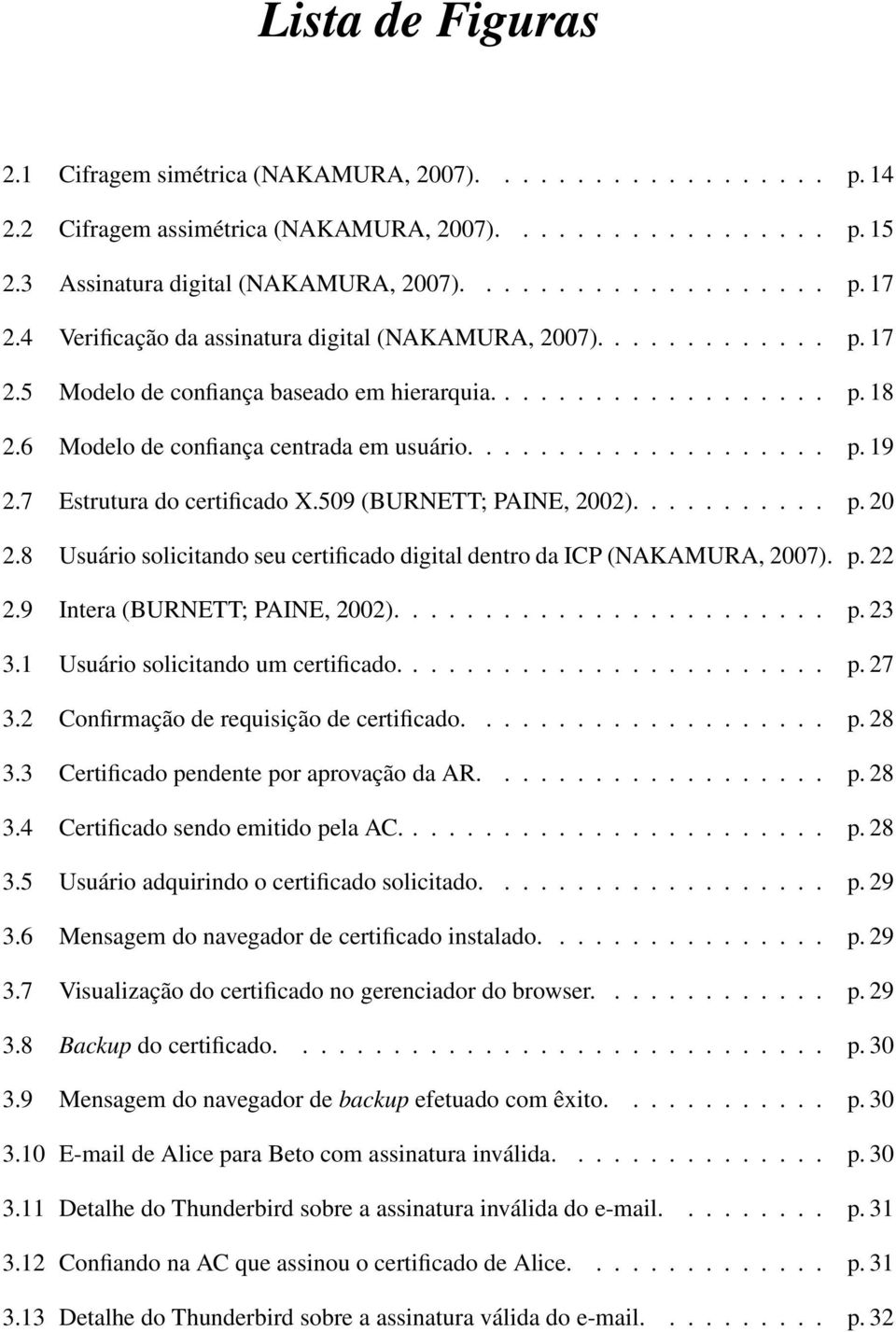 7 Estrutura do certificado X.509 (BURNETT; PAINE, 2002)........... p. 20 2.8 Usuário solicitando seu certificado digital dentro da ICP (NAKAMURA, 2007). p. 22 2.9 Intera (BURNETT; PAINE, 2002)........................ p. 23 3.