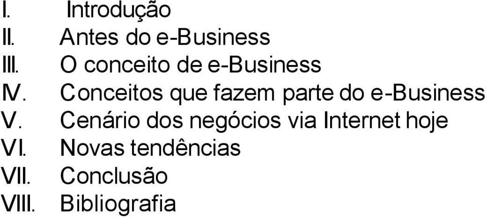 Conceitos que fazem parte do e-business V.