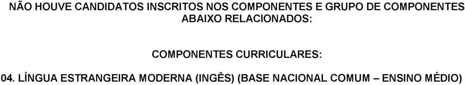 COMPONENTES CURRICULARES: 04.