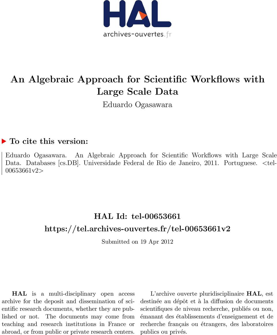fr/tel-00653661v2 Submitted on 19 Apr 2012 HAL is a multi-disciplinary open access archive for the deposit and dissemination of scientific research documents, whether they are published or not.