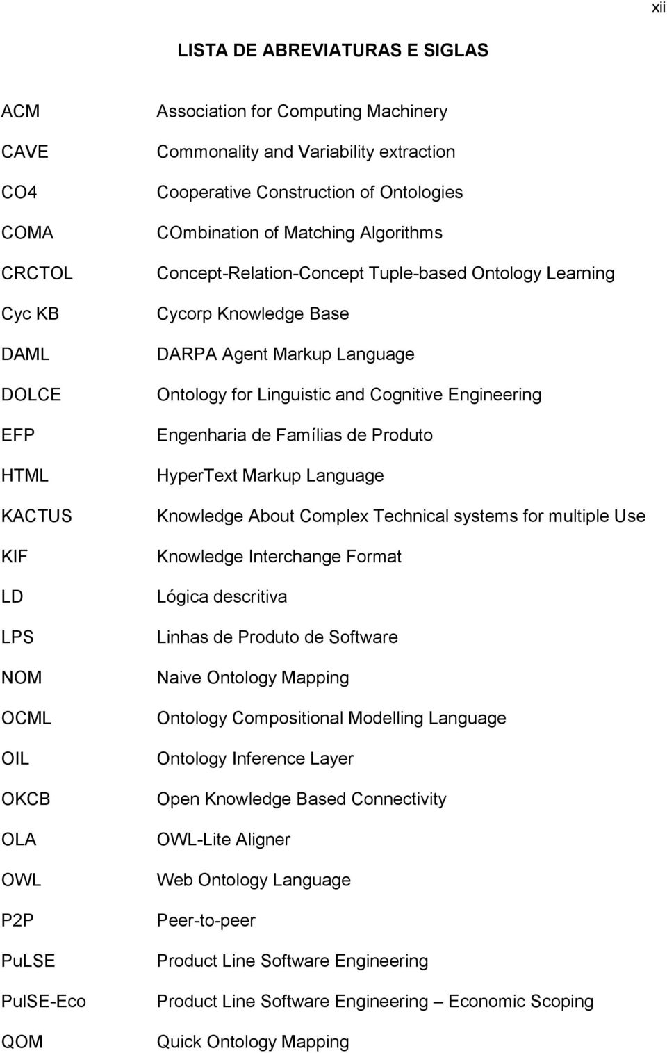 Agent Markup Language Ontology for Linguistic and Cognitive Engineering Engenharia de Famílias de Produto HyperText Markup Language Knowledge About Complex Technical systems for multiple Use