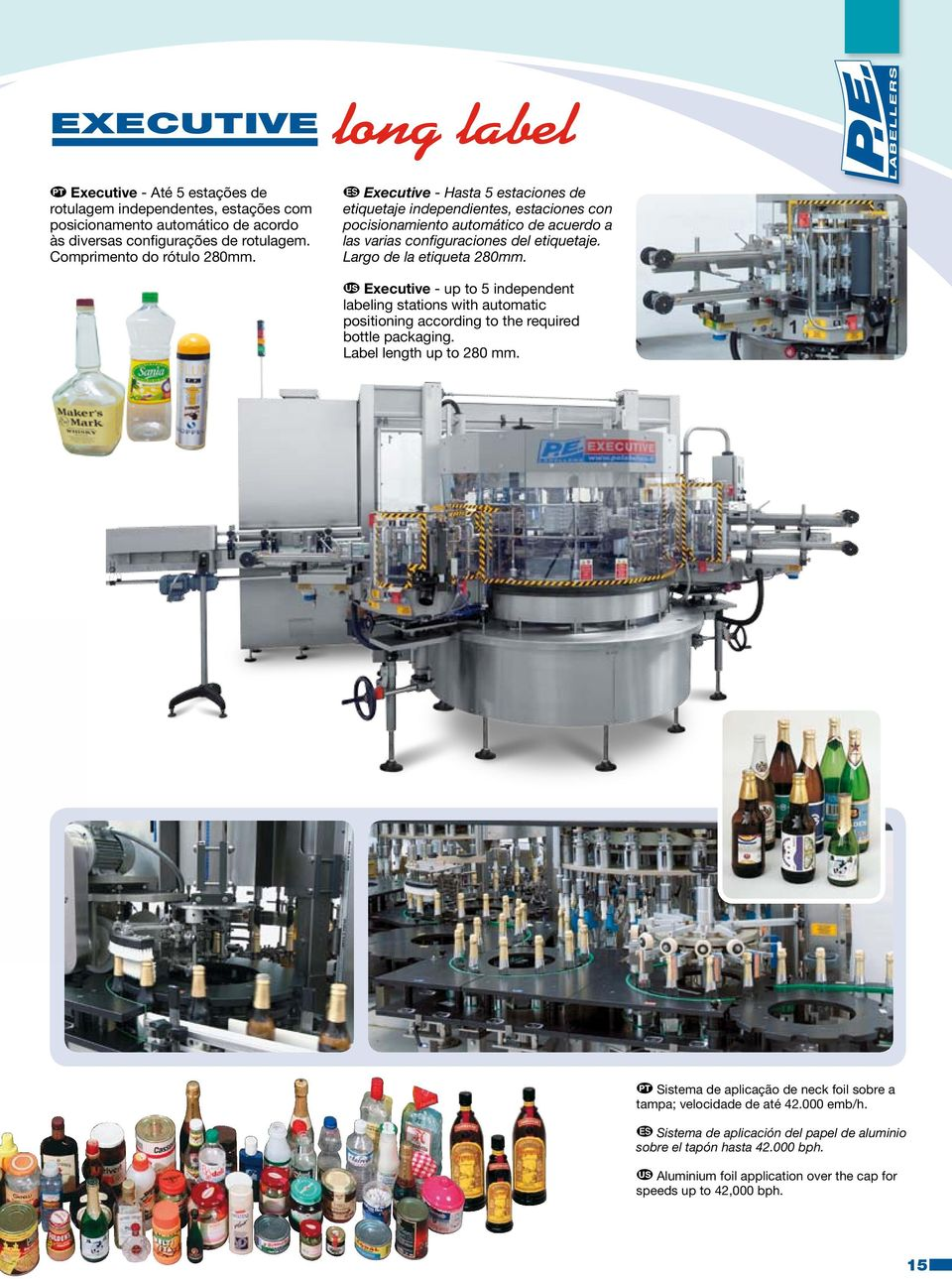 Largo de la etiqueta 280mm. Executive - up to 5 independent labeling stations with automatic positioning according to the required bottle packaging. Label length up to 280 mm.