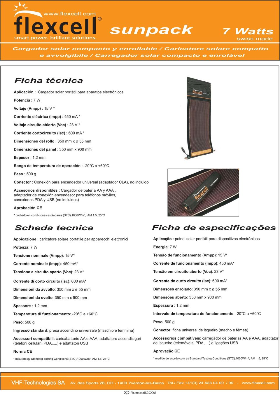 mm x ø 55 mm Dimensiones del panel : 350 mm x 900 mm Espesor : 1.