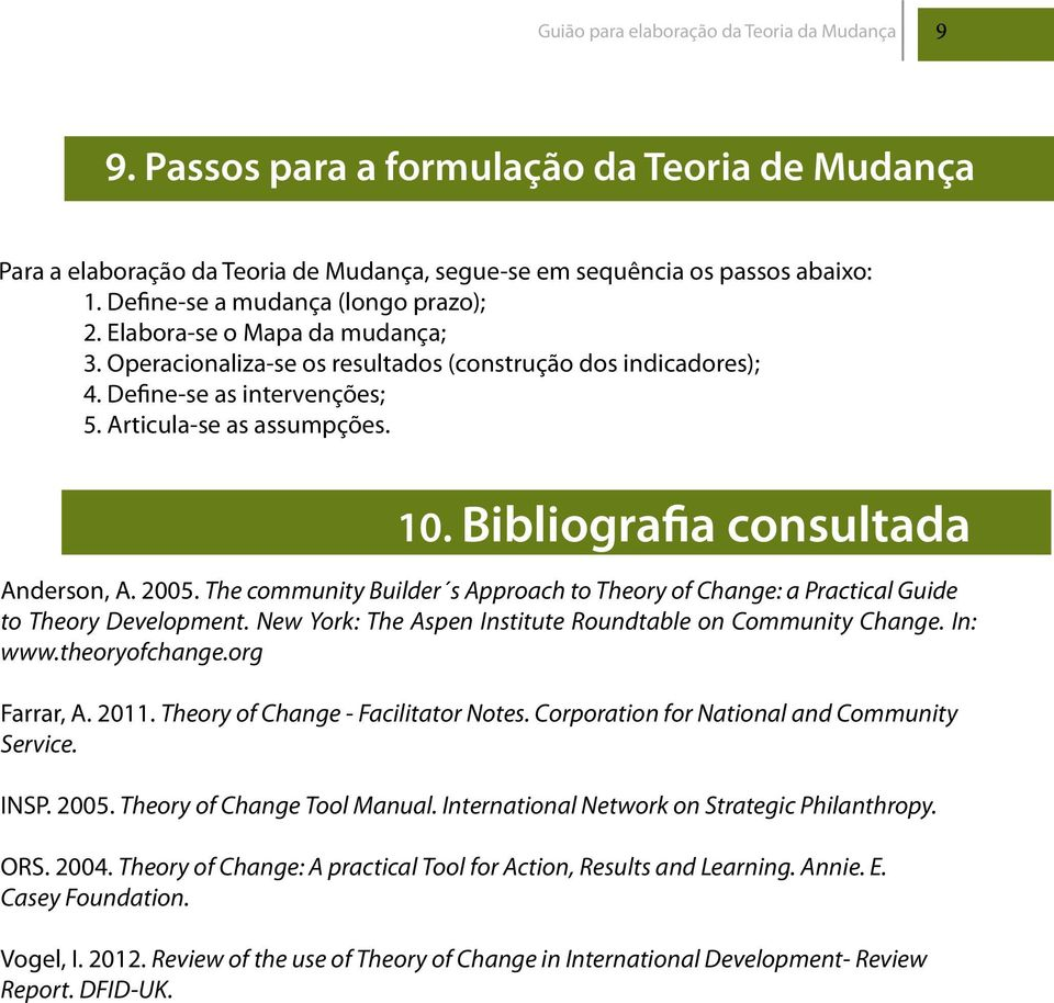 Bibliografia consultada Anderson, A. 2005. The community Builder s Approach to Theory of Change: a Practical Guide to Theory Development. New York: The Aspen Institute Roundtable on Community Change.