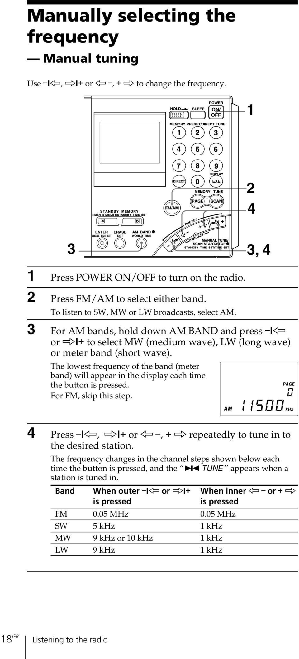 The lowest frequency of the band (meter band) will appear in the display each time the button is pressed. For FM, skip this step. 4 Press?K, k?+ or K, + k repeatedly to tune in to the desired station.