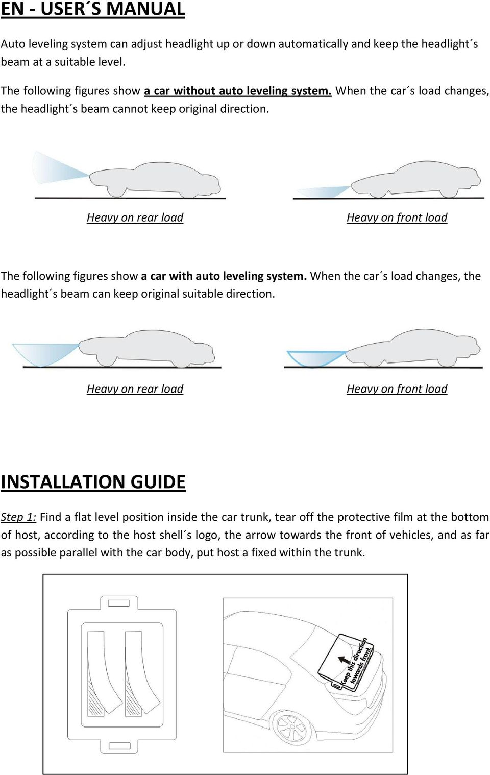 When the car s load changes, the headlight s beam can keep original suitable direction.