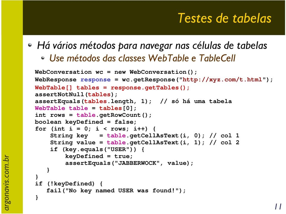 length, 1); // só há uma tabela WebTable table = tables[0]; int rows = table.getrowcount(); boolean keydefined = false; for (int i = 0; i < rows; i++) { String key = table.