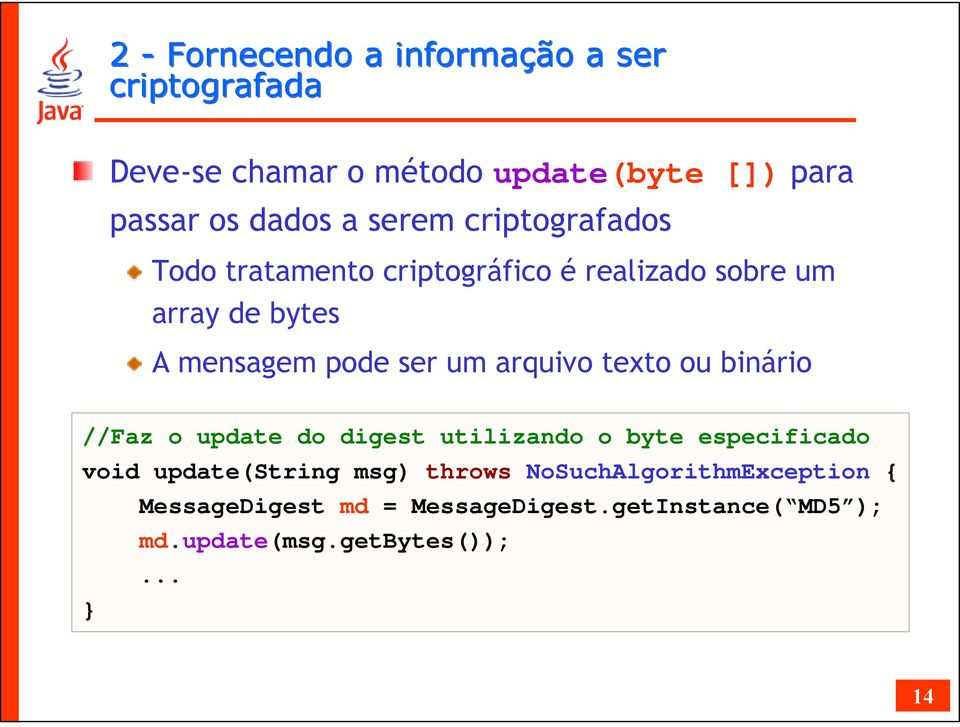 arquivo texto ou binário //Faz o update do digest utilizando o byte especificado void update(string msg) throws