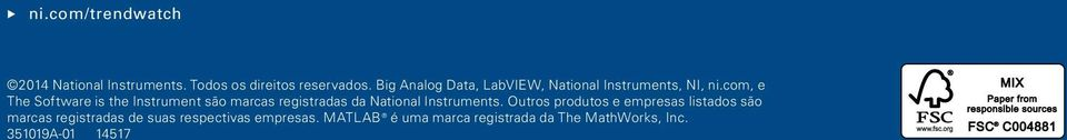 com, e The Software is the Instrument são marcas registradas da National Instruments.