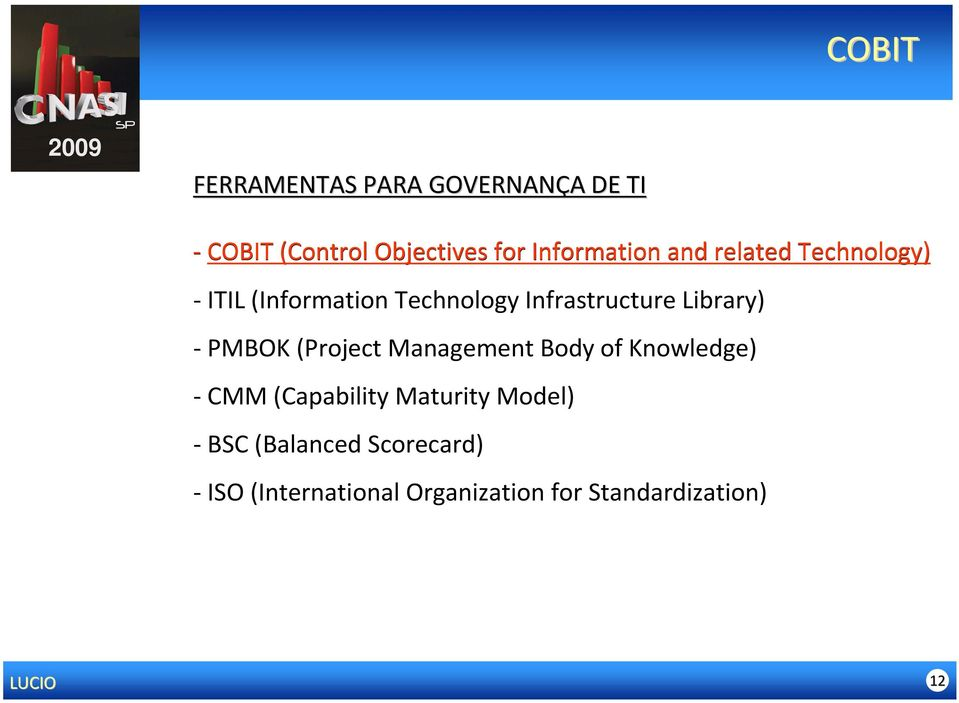 Library) - PMBOK (Project Management Body of Knowledge) - CMM (Capability Maturity