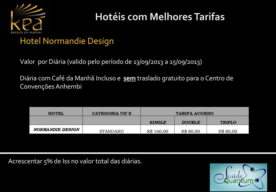 Convenções Anhembi HOTEL CATEGORIA UH`S TARIFA ACORDO NORMANDIE DESIGN SINGLE DOUBLE