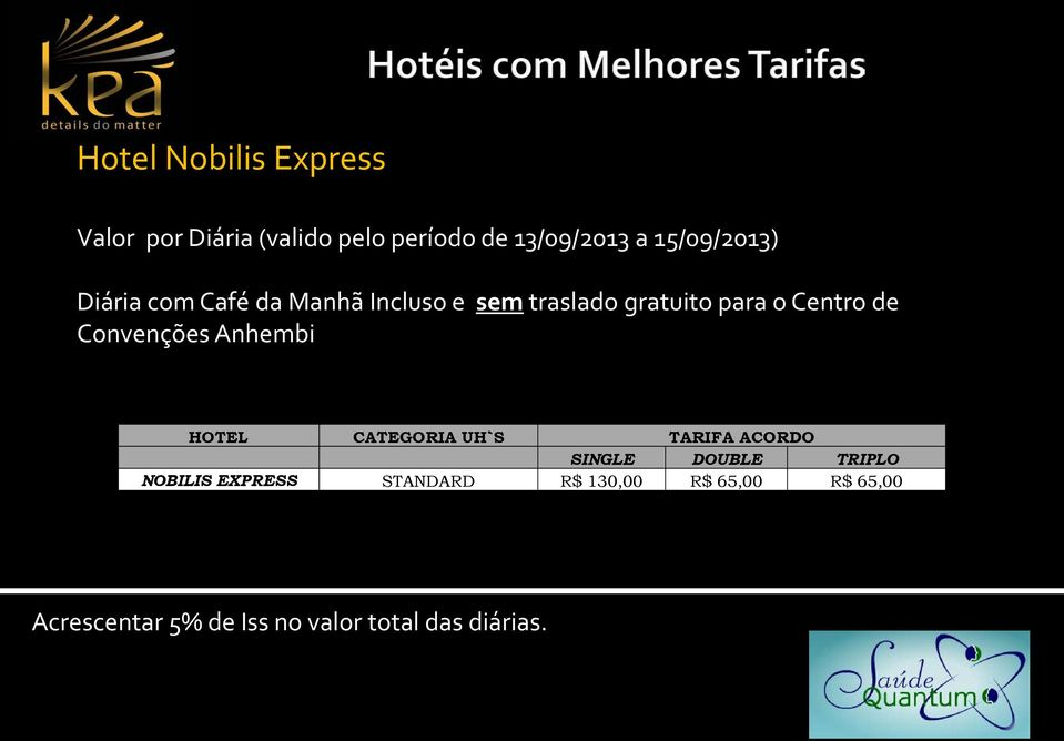 de Convenções Anhembi HOTEL CATEGORIA UH`S TARIFA ACORDO SINGLE DOUBLE TRIPLO