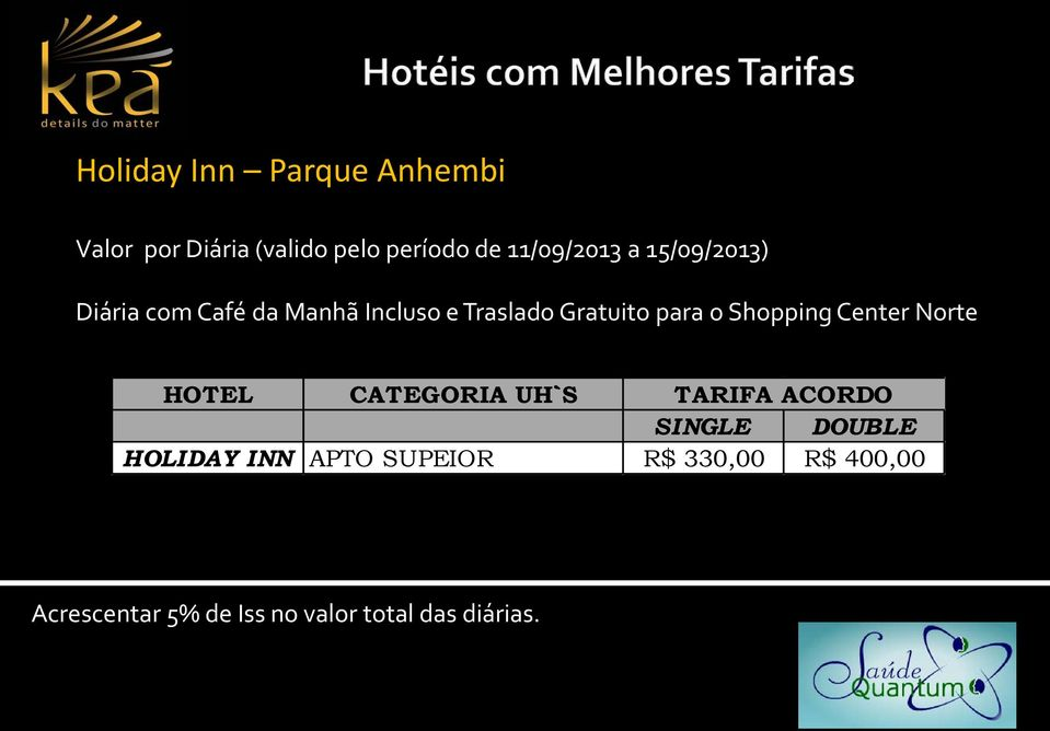 Shopping Center Norte HOTEL CATEGORIA UH`S TARIFA ACORDO SINGLE DOUBLE HOLIDAY