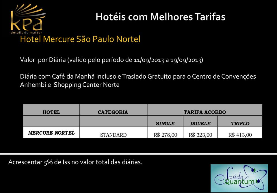 Convenções Anhembi e Shopping Center Norte HOTEL CATEGORIA TARIFA ACORDO MERCURE NORTEL